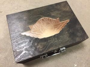 Custom Jordan Clear Wings Wooden Case