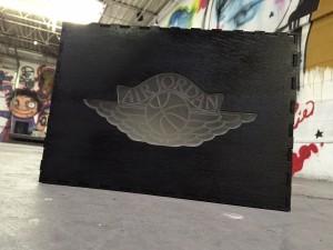 Custom Jordan Clear Wings Black Shoe Box