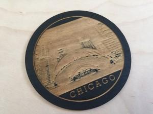 Chicago Themed Wood Coaster (2 tone)